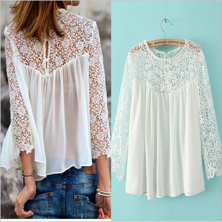 Shirts Blusas Women Blouses White Lace Crochet Plus Size Sheer Blusas