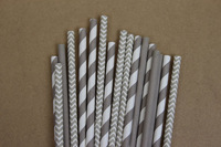 Free Shipping 75 assorted grey paper straws - striped, chevron & solid Paper straws assortment - with printable DIY flags