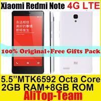 "Freeshipping Original xiaomi hongmi note MTK6592 Octa core 1.7Ghz 2GB+8GB 5.5"" IPS 13.0MP camera Xiaomi Red Rice Note cell phone"