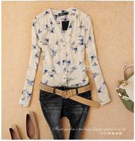 2014 free shipping New Fashion Ladies' elegant bird Animal print blouse long Sleeve casual slim shirts V-neck