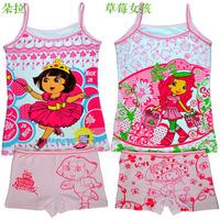 Lycra cotton underwear manufacturers selling children cartoon princess girls condole belt vest pants pajamas suit T-shirt set