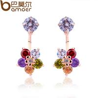 Bamoer Luxury Brand Earrings 18k Gold Stud Earring Colorful Pentagram Briconos Zircon Stone Women Party Stud Earrings JIE013