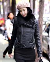 2014 Winter women's long sleeve big collar ladies winter straight thick padded fleece zipper jacket coat Free Shipping