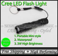3W Mini Police Torch, aluminum waterproof flashlight for Camping Climbing Fishing Hiking portable LED Flash Lights