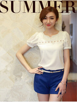 2014 Summer Women Pearl Chiffon Hollow Out Lace Patchwork Blouses White Short Sleeve Shirts Plus Size Tops For Women