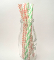 100 Shabby Chic Paper Straws, Light Pink and Mint Green Drinking Straws,Vintage Baby shower,Teaparty,1st Birthday, Cake Pops