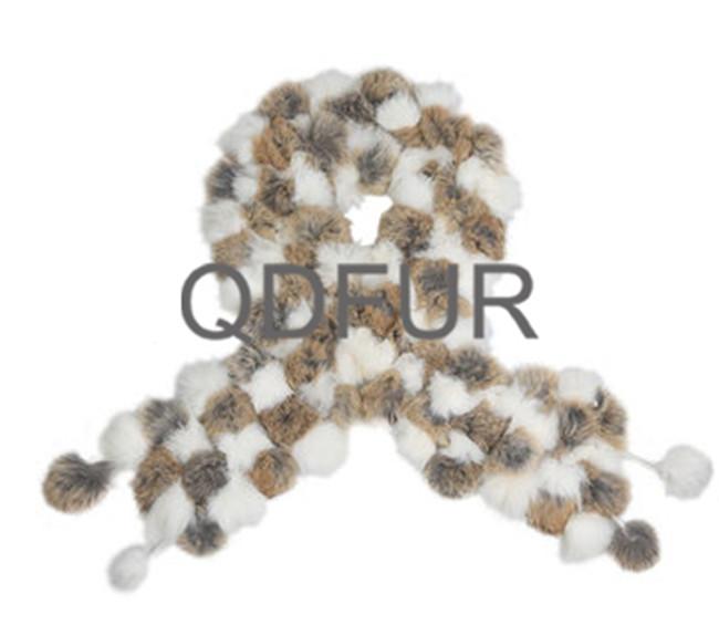 Handmade Winter Ladies' Genuine Natural Knitted Rex Rabbit Fur Scarves Women Fur Warm Neckchief Mufflers Accessory QD70116(China (Mainland))
