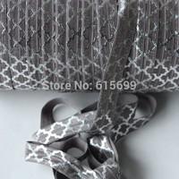 Accept Custom print! wholesale Silver Foil Big Quatrefoil  Fold Over Elastic Ribbon10Yards-FOE Elastic #017Metal Grey