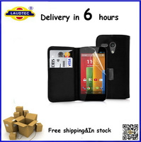 10pcs/lot, In stock High quality Leather Flip Wallet Case Cover for Motorola Moto G, free shipping