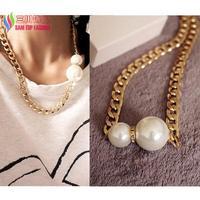 2014 latest fashion gold alloy chain double faux pearl false collar brand designer statement pendant & necklace for women bijoux