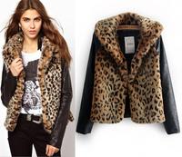 2014 Fashion Women Coat Faux Fur Leather Cardigan Jacket Winter Women's Leopard Slim Long Sleeve Coats Jackets casacos jaqueta