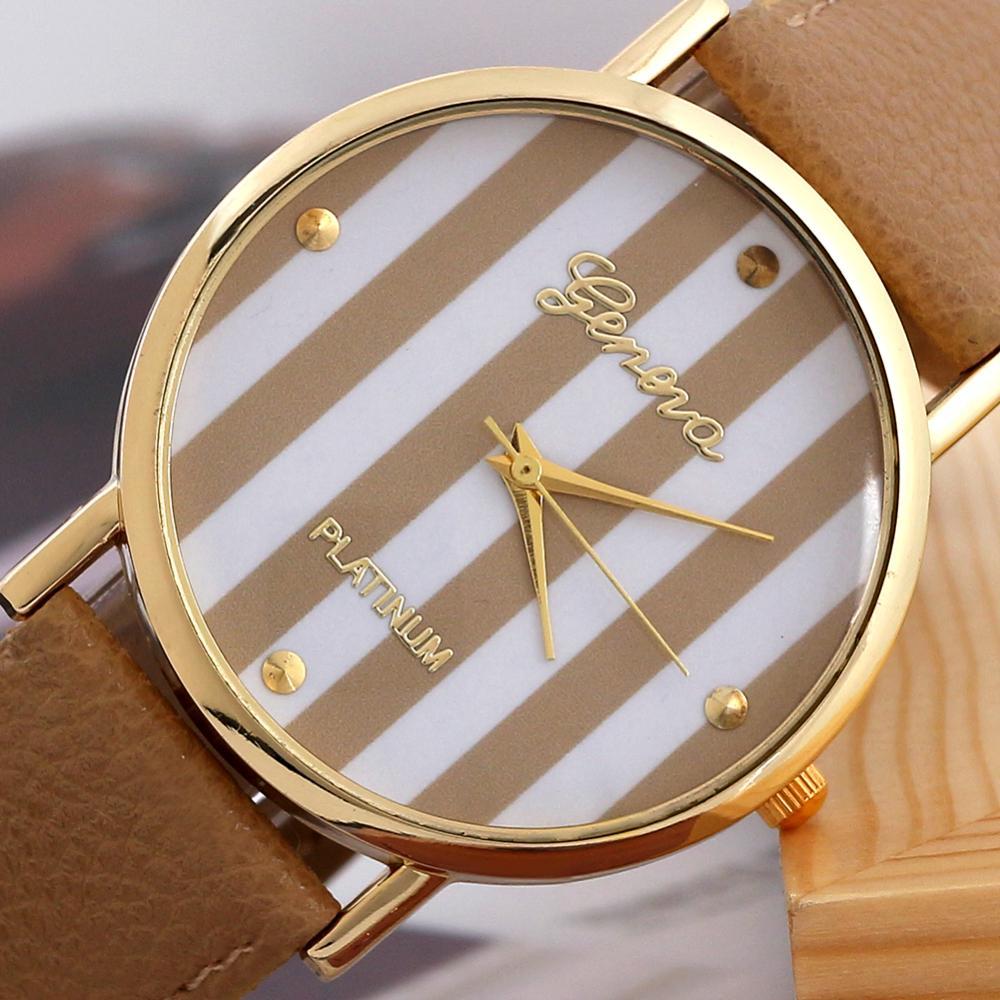 heißer verkauf kostenloser versand reis braun beliebt genf streifen streifen uhr pu leatheroid frauen analog quarz armbanduhren