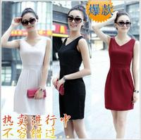 2014 new spring dress top factory direct authentic Korean version of Slim sleeveless vest dress
