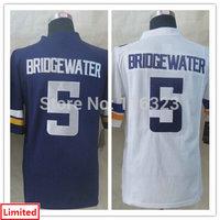 2014 Draft Pick  Men's Football Jersey Teddy Bridgewater #5 Limited Sprots Jerseys-White,Purple Size:S~3XL+Free Shipping