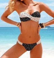 2014 NEW Fashion swimwear Brand Bra Woman Sexy print bikinis set PAD Swimsuits Sport Fringe Top Swimwear Beachwear!@00036