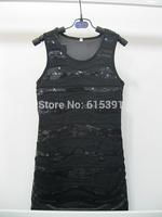 2014 Summer New Arrival Fashion girls dresses handmade sequins BLACK Lace sundress 6T-12T 4PCS/LOT