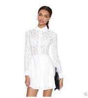 2014 New Autumn White Long Sleeve Lace Embroidery Dress Women Brand Designer Slim Celebrity Dresses Brand Party Vestidos Dresses