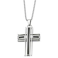 2014 New Fashion  Men's Cross  Pendant  With Black Carbon Fiber Inlay , Men Pendants Necklace 316L Stainless Ste SS033P