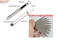 Best Quality Stainless Steel Cutter Knife,Utility Multi Functional Sliding Blade Knife + 10pcs spare blades,NO.S-801