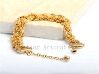 Luxury  Brand New Arrival Gold Plated Bling Full Stainless Steel Bracelet Wristband For Women Ladies Elegant Jewelry