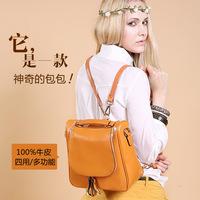 Hot selling 2014 Women  Backpack Fashion School Bags Genuine Cow Oil Wax Leather Multifunction Tote Shoulder Bag Handbag, Q0424