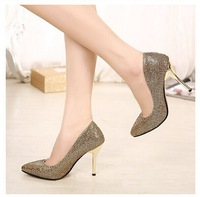 2014 new fashion women all-match pointed toe stiletto shoes high heel pumps sequined cloth shoes women free shipping