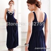 Korean version of the new palace luxury sequined embellishment back big U collar long dress dress