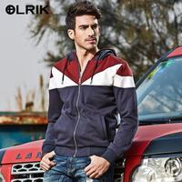 OLRIK Men Clothes Hoody Fashion 2014 Mens Hoodies Stand Collar Zipper hoodie Men 3 Colors Free Shipping