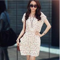 2014 summer casual dress Brand women O-Neck bat sleeve chiffon knee-length Large yard floral dress# 5811