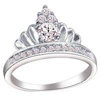 Size 5 6 7 8 9 10# 925 Sterling Silver Women Gift Jewelry Crown CZ Cubic Zirconia Wedding Engagement Ring Ulove Brand J228