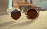 Hollow metal frame sunglasses circular retro reflective fashion sunglasses