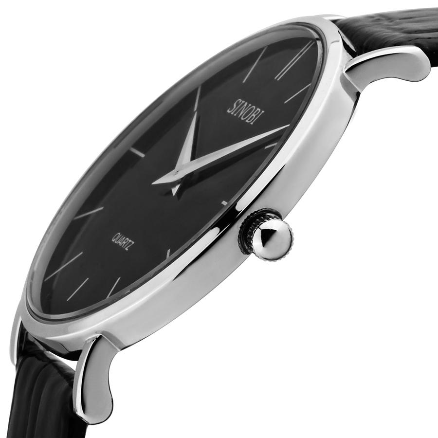 Sinobi Brand New Fashion Casual Style Leather Strap Mens Wristwatch Analog Quartz Watch Stainless Steel Case Free Shipping(China (Mainland))