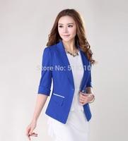 New Uniform Style 2014 Fashion Blue Spring Summer Business Blazers Tops Women's Coat Jacket Work Wear Outwear Clothes Plus Size