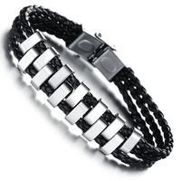 2014 Newest personality multilayer PU leather hand made weave  men bracelet  bangle titanium steel N844