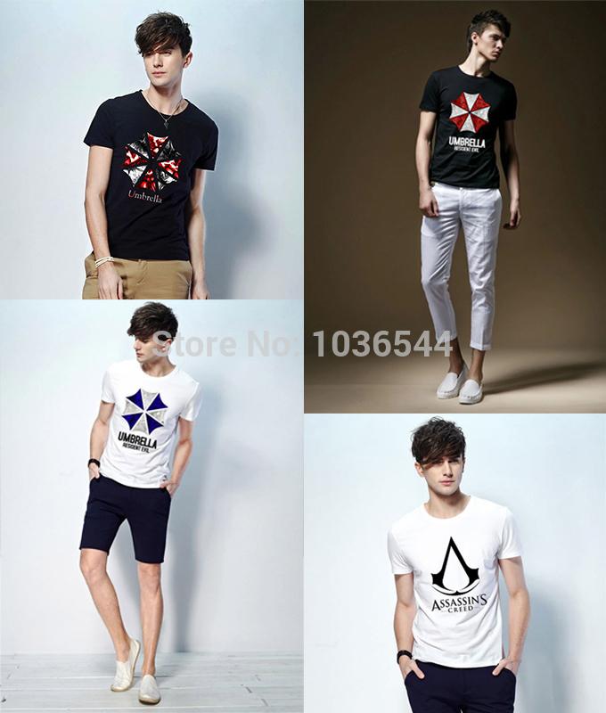 Corp Biohazard Resident Evil Umbrella Shirts Men Anime Assassin Creed T-Shirt Man Game Tee Shirt Short Sleeve Clothing Male(China (Mainland))