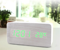 Oak White Wood Wooden Green LED Display Alarm Clock with AC Adapter 3 Alarm Time Temperature Sound Control