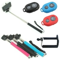 Portable extendable handheld self-timer monopod + bluetooth remote shutter + tripod holder 3 in 1 for iPhone Samsung HTC
