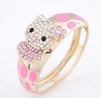 Valentine's Day Gift Cute Pink Color Cat Shape Crystal Bracelets&Bangles For Women Girls # ftbbay_10113464