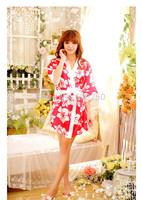 Free Shipping Sexy Japanese Flower Floral Kimono Dress Lingerie Bathrobe Dressing Gown Nightgown Sleepwear Sauna Costume# 5814