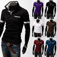 2014 New men' polo shirt Fashion brand cotton solid short sleeve luxury boss polo shirts for men 3XL Free Shipping