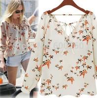 New Fashion Ladies' elegant floral print blouse V-neck casual vintage shirt slim high quality brand designer tops# 5816