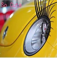 New Fashion Cool Universa Black REAL Original Car Headlight Eyelashes Car Decorate Accessories Cute Car Headlight sticker