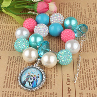 2014New arrival  Colorful Chunky Bead Bubblegum Necklace Pendant Acrylic Necklace for kid girls