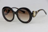 Ms. sunglasses SPR33OS  Leopard color Retro round frame Small fresh style Luxury Queen Fan  Anti-UV400