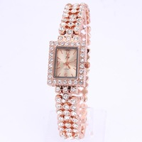 Wholesale womens bracelet watches gold fashion ladies watches rectangle quartz alloy crystal bead 1pcs hot sale free shipping