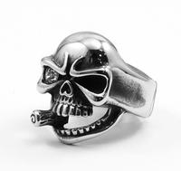 Guaranteed Men's Ring 316L Stainless Steel Hero Terminator Smoking Skull Ring Punk&Biker's Party Ring