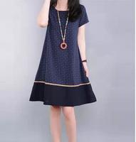 2014 Summer Crop Linen Casual Ladies One-piece Dress Print Flora Pattern Patchwork Cozy Plus Size Daily Women Loose Fit Vestidos
