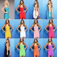 11 COLORS Free shipping 2014 back hollow wholesale European and American fashion dress factory Multi-France bikini beach dress