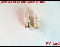 Free Shipping 10 Pcs New Product! 250Lms T10 5SMD 5630 LED Car Indicator Lamp Bulb Super White License Plate Light
