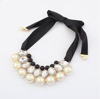 YXSP004  2014 new fashion Wild big star elegant pearl ribbon necklace for women